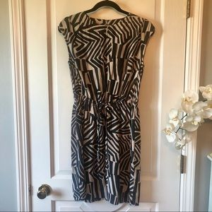 LOFT Black Tan Abstract animal Pattern Dress XS